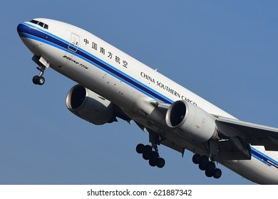 FRANKFURT,GERMANY-MARCH 16: China Southern Cargo Boeing 777F lands at Frankfurt airport on March 16,2017 in Frankfurt,Germany.