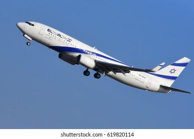 FRANKFURT,GERMANY-MARCH 16: Israel Airlines Boeing 737-800 lands at airport on March 16,2017 in Frankfurt,Germany.El Al Israel Airlines Ltd., trading as El Al, is the flag carrier of Israel.