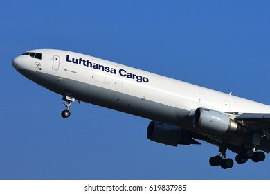 FRANKFURT,GERMANY-MARCH 16: LUFTHANSA CARGO MD-11 Freighter lands at airport on March 16,2017 in Frankfurt,Germany.