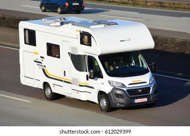 FRANKFURT,GERMANY-MARCH 16: SunLiving Caravan on the freeway on March 16 2017 in Frankfurt,Germany.