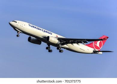 FRANKFURT,GERMANY-MARCH 16: TURKISH CARGO Airbus A330-200F lands at Frankfurt airport on March 16,2017 in Frankfurt,Germany.