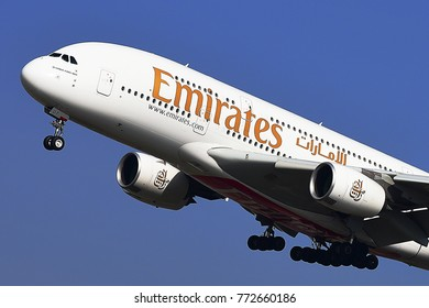 FRANKFURT,GERMANY-MARCH 16,2017: EMIRATES AIRLINES Airbus A380-800 lands at Frankfurt airport.