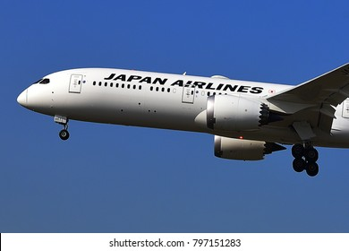 FRANKFURT,GERMANY-MARCH 16,2017: JAPAN Airlines Boeing 787 lands at Frankfurt airport.