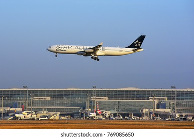 FRANKFURT,GERMANY-MARCH 16,2017: LUFTHANSA AIRLINES Airbus A340-300 lands at Frankfurt airport.