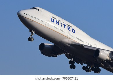 FRANKFURT,GERMANY-MARCH 16,2017: UNITED Airlines Boeing 747 lands at Frankfurt airport.United, is a major U.S. airline headquartered in Chicago, Illinois.