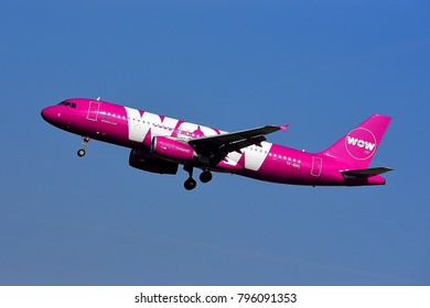 FRANKFURT,GERMANY-MARCH 16,2017: WOW air TF-BRO Airbus A320  lands at Frankfurt airport.WOW air is an Icelandic low-cost carrier focusing on transatlantic flights.