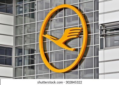 FRANKFURT,GERMANY-MARCH 28:the logo of the brand Lufthansa on the terminal on March 28,2015 in Frankfurt,Germany.Lufthansa AG is a German airline and also the largest airline in Europe.