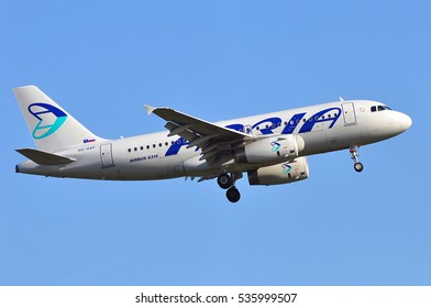 FRANKFURT,GERMANY-MAY 05: Adria Airways Airbus A319 on May 05,2016 in Frankfurt,Germany.Adria Airways is the Slovenian national airline.