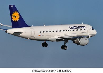 FRANKFURT,GERMANY-MAY 05: LUFTHANSA Airlines aircraft takes off at Frankfurt airport on May 05,2016 in Frankfurt,Germany.