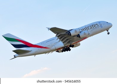 FRANKFURT,GERMANY-MAY 05:Airbus A380-800 of EMIRATES AIRLINES lands at Frankfurt airport on May 05,2016 in Frankfurt,Germany.Emirates is an airline of the United Arab Emirates, based in Dubai.