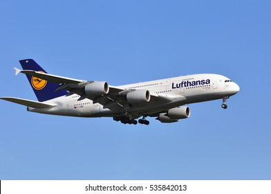 FRANKFURT,GERMANY-MAY 05:AIRBUS A380-800 of Lufthansa from Tokyo approacing Frankfurt airport on May 05,2016 in Frankfurt,Germany.Lufthansa is a German airline and  largest airline in Europe.