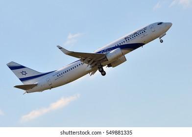 FRANKFURT,GERMANY-MAY 05:Boeing 737 of Israel Airlines lands at Frankfurt airport on May 05,2016 in Frankfurt,Germany.El Al Israel Airlines Ltd, trading as El Al, is the flag carrier of Israel.