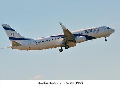 FRANKFURT,GERMANY-MAY 05:Boeing 737 of Israel Airlines lands at Frankfurt airport on May 05,2016 in Frankfurt,Germany.El Al Israel Airlines Ltd, trading as El Al, is the flag carrier of Israel.