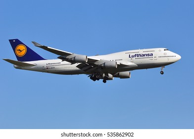 FRANKFURT,GERMANY-MAY 05:Boeing 747-400 of Lufthansa above the Frankfurt airport on May 05,2016 in Frankfurt,Germany.Lufthansa is a German airline and also the largest airline in Europe.