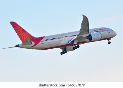 FRANKFURT,GERMANY-MAY 05:Boeing 787 of Air India lands at Frankfurt airport on May 05,2016 in Frankfurt,Germany.Air India - flag carrier airline of India and the third largest airline in India.