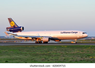 FRANKFURT,GERMANY-MAY 05:Boeing of Lufthansa Cargo in the Frankfurt airport on May 05,2016 in Frankfurt,Germany.Lufthansa Cargo AG-German cargo airline and a wholly owned subsidiary of Lufthansa