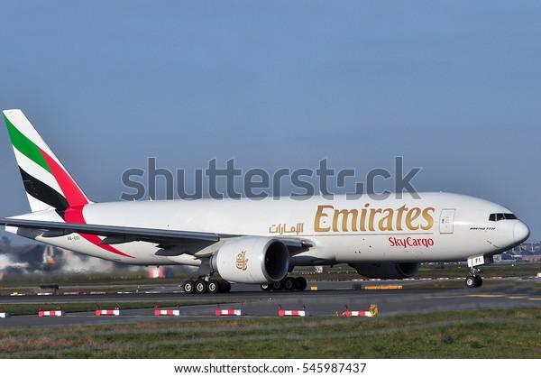 Frankfurtgermanymay 05emirates Sky Cargo Boeing 777f Stock Photo