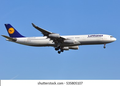 FRANKFURT,GERMANY-MAY 05:LUFTHANSA Airbus A340-300 in the bkue sky on May 05,2016 in Frankfurt,Germany.Lufthansa is a German airline and largest airline in Europe.