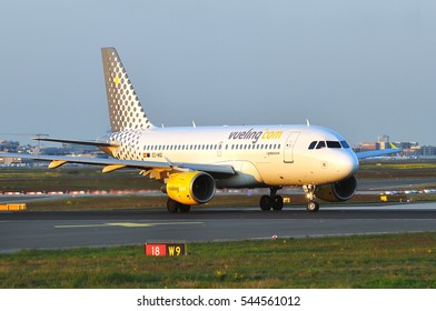FRANKFURT,GERMANY-MAY 05:Vueling Airlines Airbus A319 on the runway on May 05,2016 in Frankfurt,Germany.Vueling Airlines is a Spanish low-cost airline.