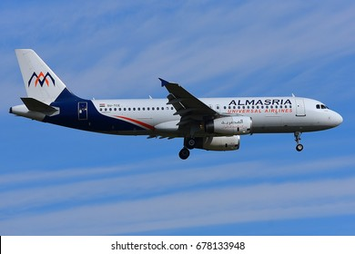 FRANKFURT,GERMANY-MAY 06: AlMasria Universal Airlines AIRBUS A320 lands at Frankfurt airport on May 06,2017 in Frankfurt,Germany.AlMasria Universal Airlines-Egyptian private airline based in Egypt.