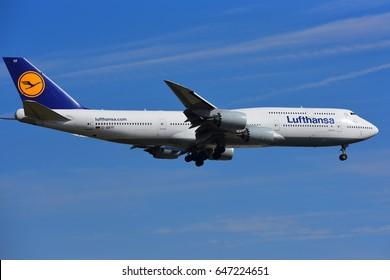 FRANKFURT,GERMANY-MAY 06: LUFTHANSA Boeing 747-8 lands at Frankfurt airport  on May 06,2017 in Frankfurt,Germany.