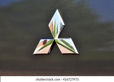 FRANKFURT,GERMANY-MAY 07:MITSUBISHI MOTORS logo on May 07,2016 in KFrankfurt,Germany..Mitsubish i Motors was the sixth biggest Japanese automaker and the sixteenth biggest worldwide by production.