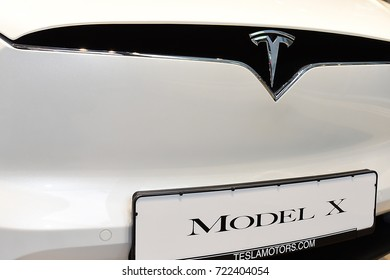 FRANKFURT,GERMANY-MAY 08: TESLA logo on May 08,2017 in Frankfurt,Germany.Tesla, Inc. is an American automaker, energy storage company, and solar panel manufacturer based in Palo Alto, California.