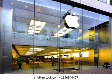 FRANKFURT,GERMANY-MAY 08,2017:APPLE store and logo. Apple Inc. is an American multinational technology company headquartered in California.