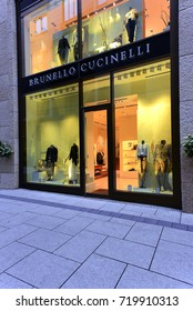 FRANKFURT,GERMANY-MAY 08:BRUNELLO CUCINELLI fashion store on May 08,2017 in Frankfurt,Germany.BRUNELLO CUCINELLI-Italian fashion brand which sells menswear, women's wear.