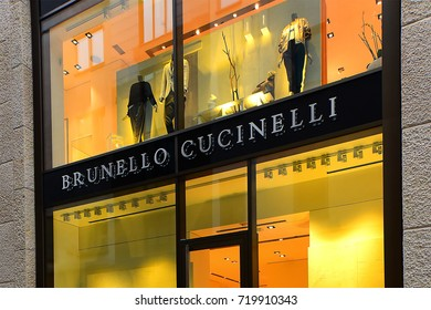 FRANKFURT,GERMANY-MAY 08:BRUNELLO CUCINELLI fashion store on May 08,2017 in Frankfurt,Germany.BRUNELLO CUCINELLI-Italian fashion brand which sells menswear, women's wear.