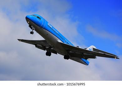FRANKFURT,GERMANY-MAY 09,2017: KLM Royal Dutch Airlines Fokker 70 lands at Frankfurt airport.