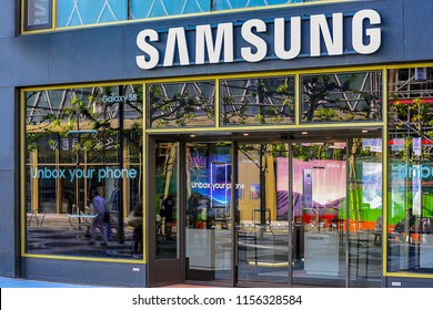 FRANKFURT,GERMANY-MAY 09,2017: SAMSUNG phone store.Samsung Group is a South Korean multinational conglomerate headquartered in Samsung Town, Seoul.
