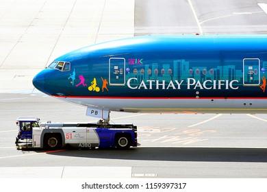 FRANKFURT,GERMANY-MAY 09,2017:Cathay Pacific Airways Boeing 777,Cathay Pacific Airways Limited is the flag carrier of Hong Kong.