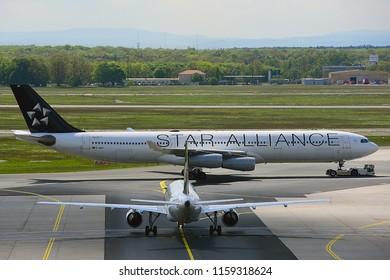 FRANKFURT,GERMANY-MAY 09,2017:LUFTHANSA Airbus A340-300.