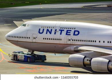 FRANKFURT,GERMANY-MAY 09,2017:UNITED AIRLINES Boeing 747.