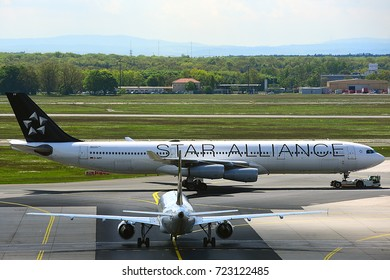 FRANKFURT,GERMANY-MAY 09:LUFTHANSA Airbus A340-300 in Frankfurt airport on May 09,2017 in Frankfurt,Germany