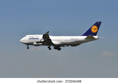 FRANKFURT,GERMANY-MAY 13:airplane Boeing 747-400 of Lufthansa above Frankfurt airport on May 13,2015 in Frankfurt,Germany.Lufthansa is a German airline and also the largest airline in Europe.