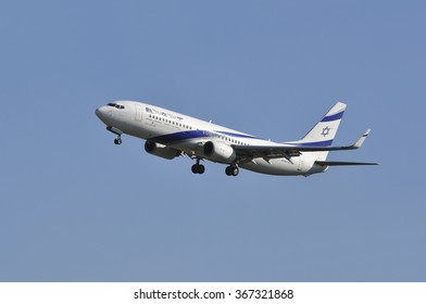 FRANKFURT,GERMANY-MAY 13:airplane of Israel Airlines above the Frankfurt airport on May 13,2015 in Frankfurt,Germany.El Al Israel Airlines Ltd, trading as El Al, is the flag carrier of Israel.