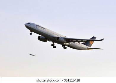 FRANKFURT,GERMANY-MAY 13:airplane of Lufthansa above the Frankfurt airport on May 13,2015 in Frankfurt,Germany.LUFTHANSA is a German airline and the largest airline in Europe.