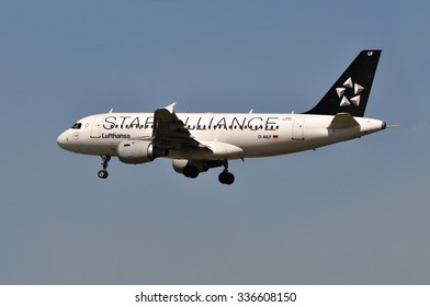 FRANKFURT,GERMANY-MAY 13:airplane of Lufthansa (STAR ALLIANCE) above the Frankfurt airport on May 13,2015 in Frankfurt,Germany.LUFTHANSA is a German airline and the largest airline in Europe.