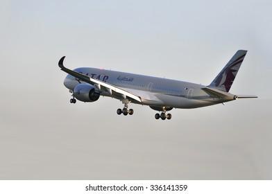 FRANKFURT,GERMANY-MAY 13:airplane of Qatar Airways above the Frankfurt airport on May 13,2015 in Frankfurt,Germany.