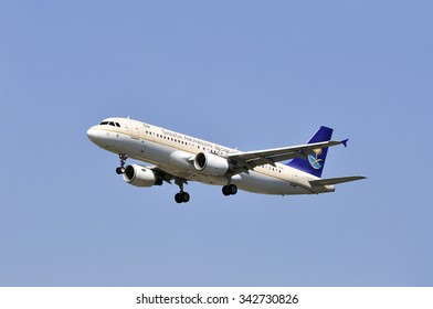 FRANKFURT,GERMANY-MAY 13:airplane of Saudi Arabian Airlines on May 13,2015 in Frankfurt,Germany.Saudi Arabian Airlines operating as Saudia is the flag carrier airline of Saudi Arabia.