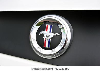 FRANKFURT,GERMANY-MAY 17:FORD MUSTANG logo on May 17, 2016 in Frankfurt,Germany.The Ford Mustang is an American automobile manufactured by Ford.