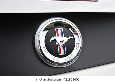 FRANKFURT,GERMANY-MAY 17:FORD MUSTANG logo on May 17,2016 in Frankfurt,Germany.The Ford Mustang is an American automobile manufactured by Ford.