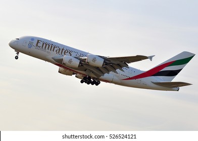 FRANKFURT,GERMANY-MAY 26: EMIRATES AIRLINES Airbus A380-800 approaching Frankfurt airport on May 26,2016 in Frankfurt,Germany.Emirates is an airline of the United Arab Emirates, based in Dubai.