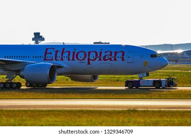FRANKFURT,GERMANY-May 26,2016: Ethiopian Airlines Boeing 777. Ethiopian Airlines is Ethiopia's flag carrier.