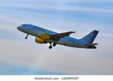 Frankfurt,Germany-May 26,2016:Vueling Air Airbus A319.Vueling Airlines, S.A. is a Spanish low-cost airline.