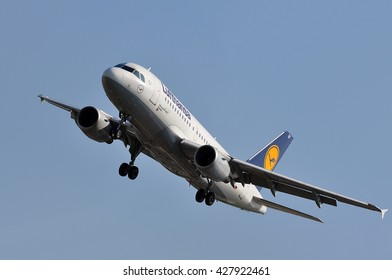 FRANKFURT,GERMANY-MAY 26:airplane of LUFTHANSA above the Frankfurt airport on May 26,2016 in Frankfurt,Germany.Lufthansa is a German airline and also the largest airline in Europe.