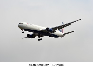 FRANKFURT,GERMANY-MAY 26:Boeing 767 of Delta Air Lines in the fog above the Frankfurt airport on May 26,2016 in Frankfurt,Germany.Delta Air Lines, Delta short, is an American airline based in Atlanta.