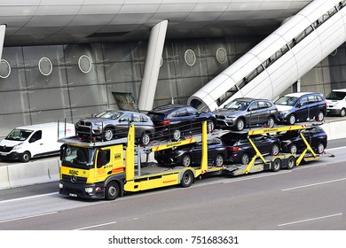 FRANKFURT,GERMANY-NOV 06: ADAC  transporter on the freeway on Vovember 06,2017 in Frankfurt,Germany.
